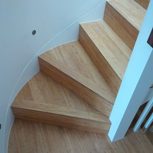 Staircase with bamboo flooring