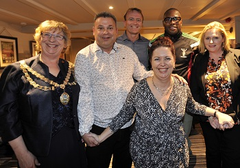 Mayor Corinna Smart, New Licensees Adrianne and Simon Mead, Cricketer Shaun Udal, Rugby Player Ugo Monye and Mary Macleod MP