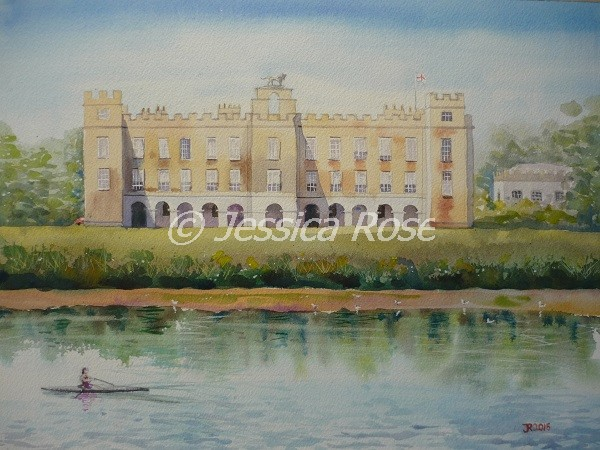 Syon House from Across the Thames II (watercolour by Jessica Rose)