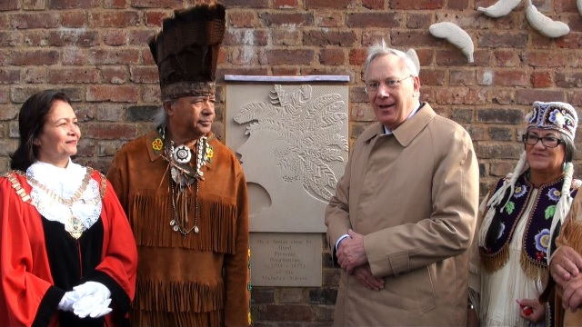 The Duke of Gloucester, representatives of the Richmond Virginia Indian Tribes and Councillor Ajmer Grewal, Mayor of Hounslow