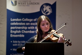 London College of Music student performs at ECO and LCM partnership launch event.