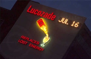 Lucozade sign on the A4 in Brentford.